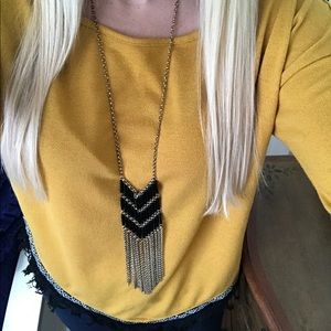Jewelry - BLACK Long fringe chain statement necklace